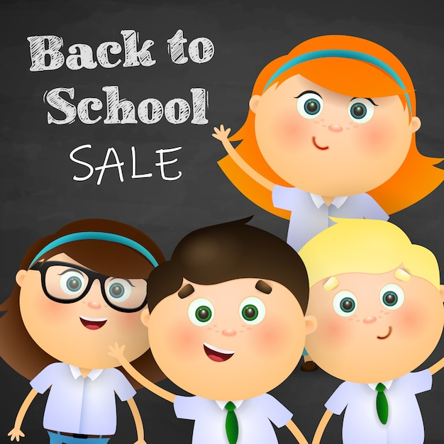 Back to school, sale lettering with happy boys and girls Free Vector