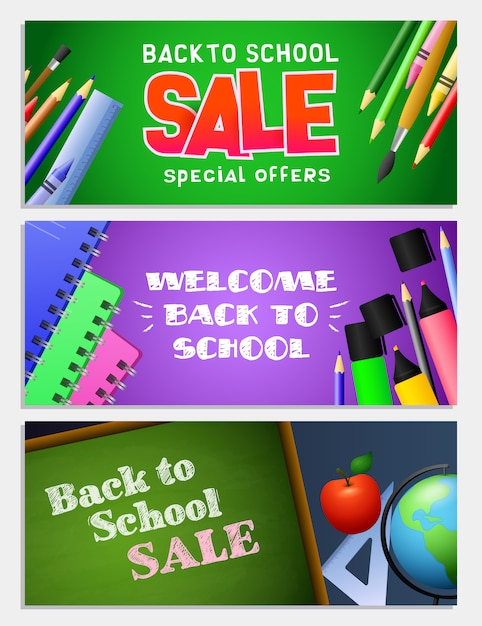 Back to school sale letterings set, chalkboard, notebooks Free Vector