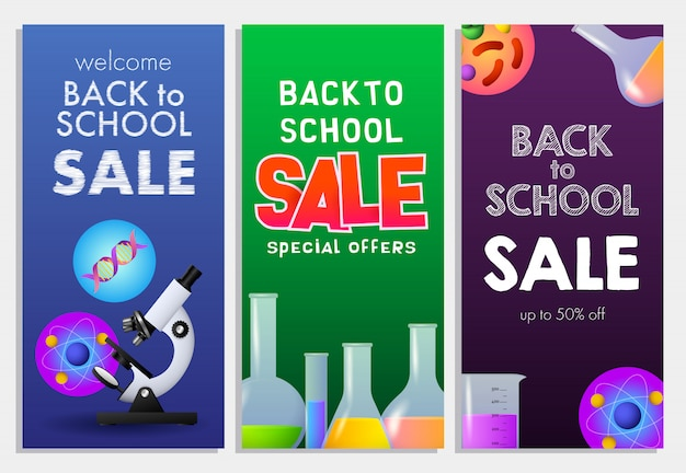Back to school sale letterings set, physics, chemistry, biology Free Vector