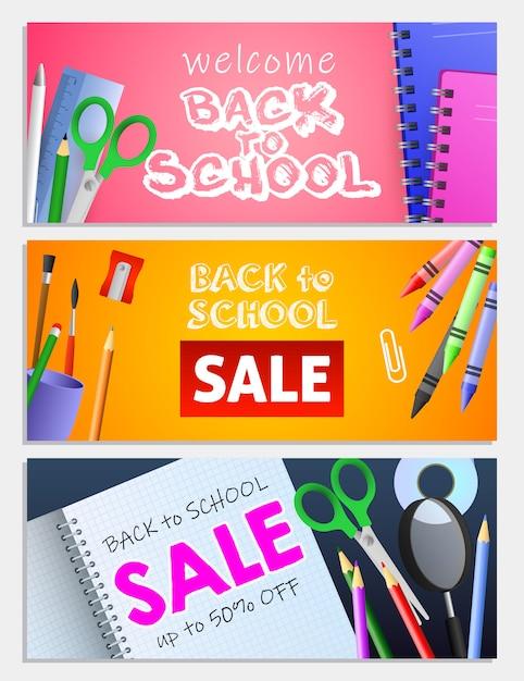 Back to school sale letterings set, scissors, pencils, copybooks Free Vector
