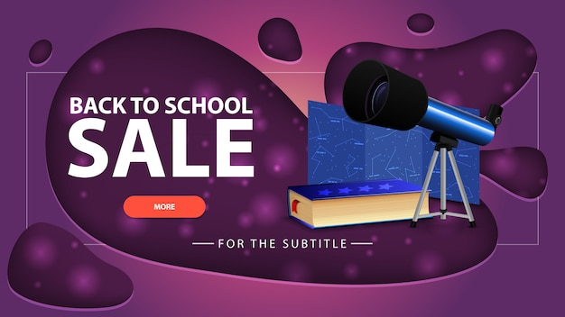 Back to school sale, pink discount banner with modern design for your website with telescope Premium Vector