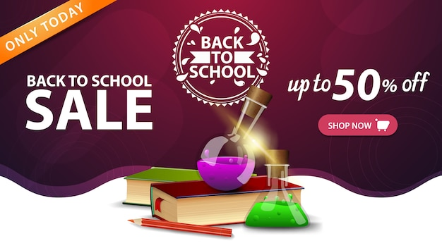 Back to school sale, pink web banner template with button, books and chemical flasks Premium Vector