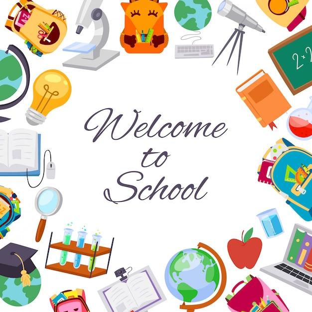 Back to school sale poster for september autumn seasonal school store discount  illustration. Premium Vector