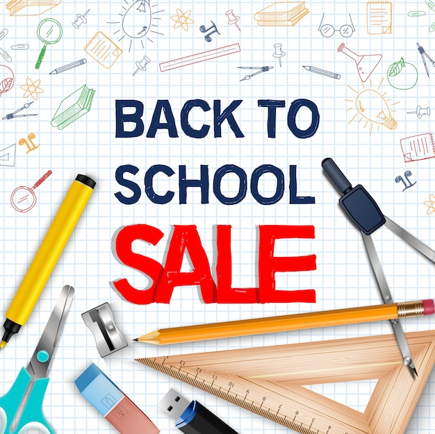 Back to school sale poster with realistic school supplies Premium Vector