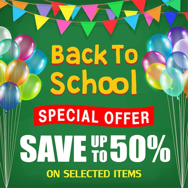 Back to school sale poster with student items Premium Vector