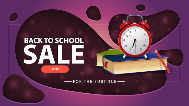 Back to school sale, purple discount banner with school books and alarm clock Premium Vector