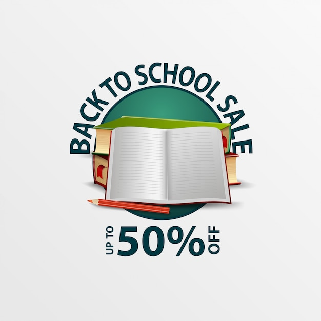 Back to school sale, round discount banner with school textbooks and notebook Premium Vector