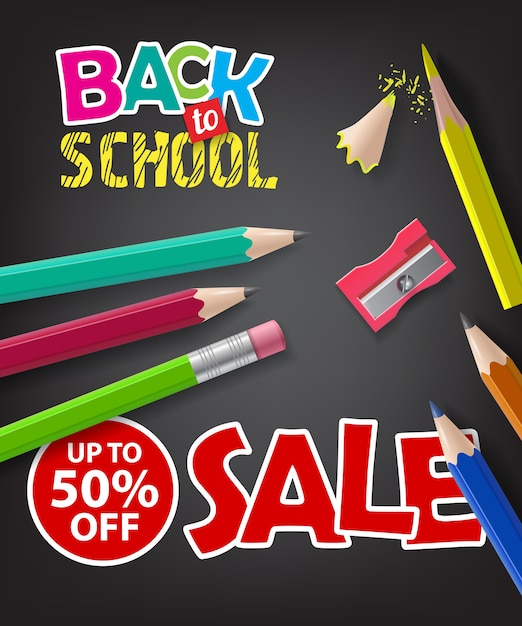 Back to school, sale, up to fifty percent off lettering Free Vector
