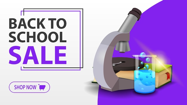 Back to school sale, white banner with microscope, books and chemical flask Premium Vector