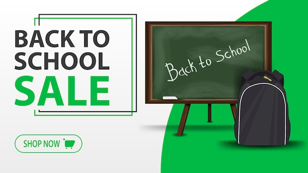 Back to school sale, white banner with school board and school backpack Premium Vector