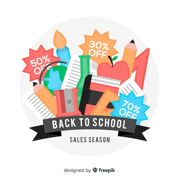 Back to school sales background Free Vector