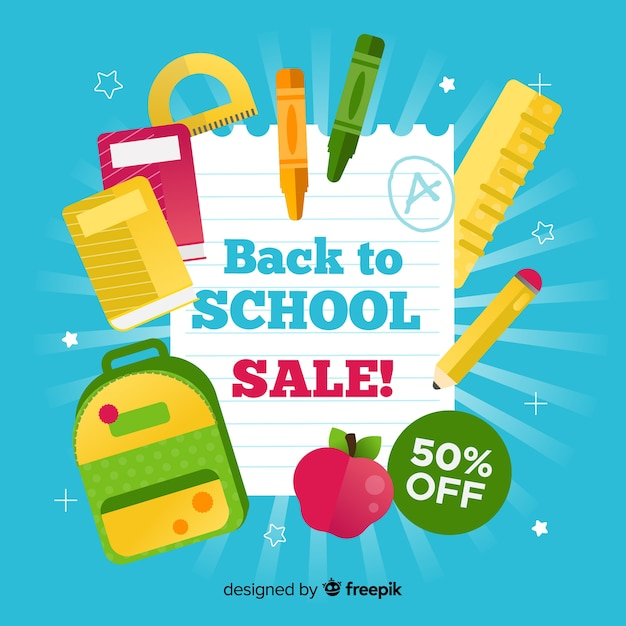 Back to school sales banner with blue background Free Vector