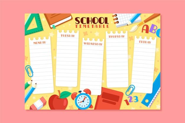 Back to school schedule flat design Free Vector