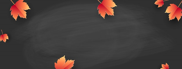 Back to school - school board with autumn leaves. template for banner.vector Premium Vector