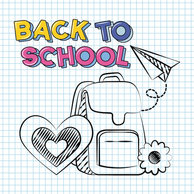 Back to school and school elements doodle illustration Free Vector