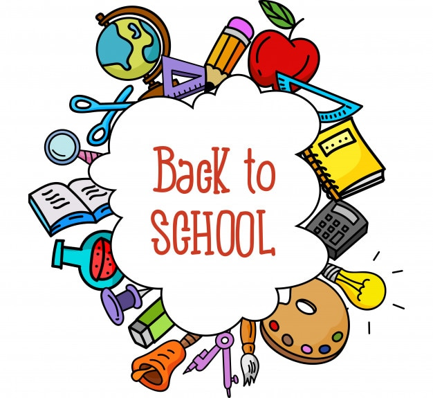 Back to school. school stuffs Premium Vector