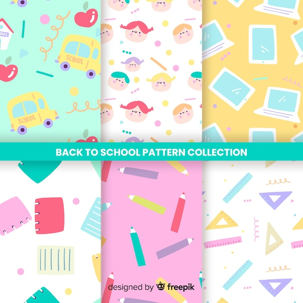 Back to school seamless pattern collection Free Vector