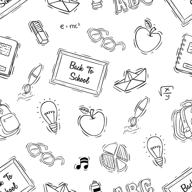Back to school seamless pattern with doodle style Premium Vector