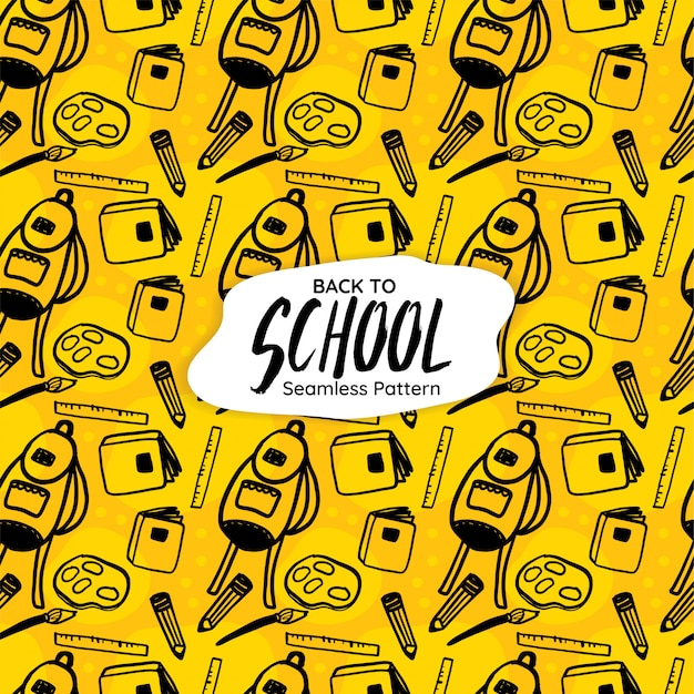 Back to school seamless pattern on yellow background Premium Vector