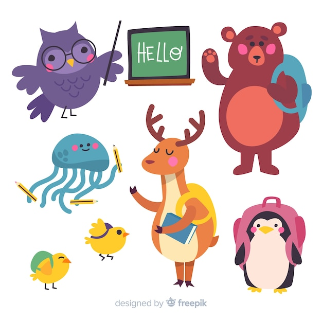 Back to school set of animals Free Vector