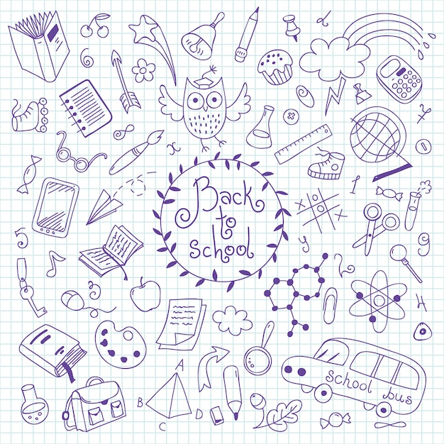 Back to school. set of hand drawn elements for design. Premium Vector
