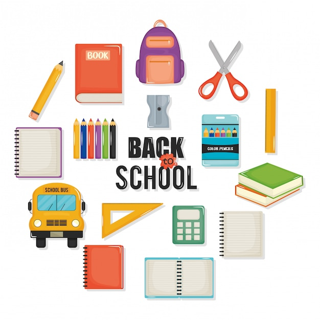Back to school set icons and elements Free Vector
