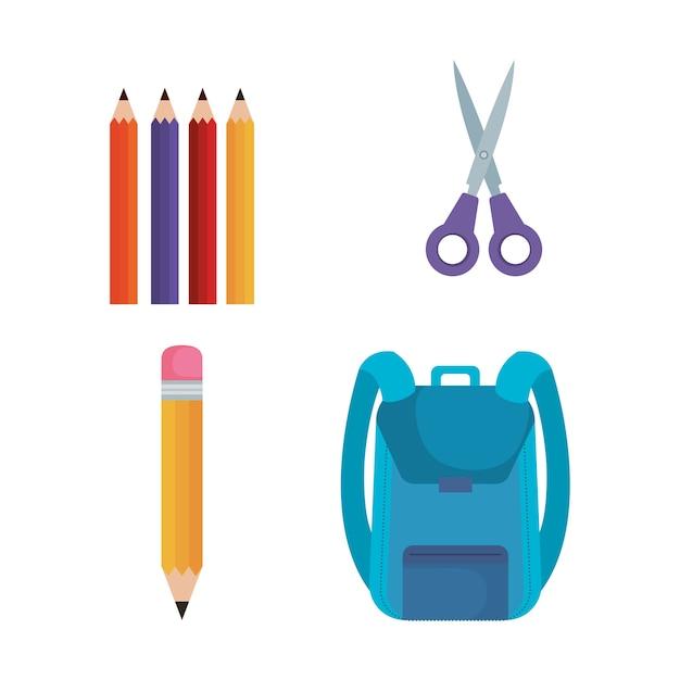 Back to school set icons vector illustration design Premium Vector