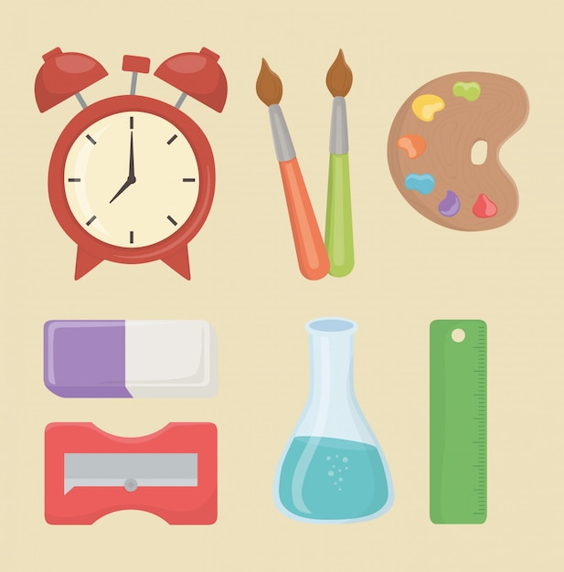 Back to school set supplies Free Vector