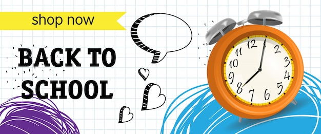 Back to school, shop now lettering with alarm clock Free Vector