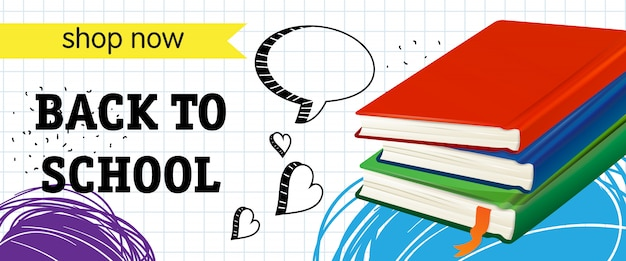 Back to school, shop now lettering with books Free Vector
