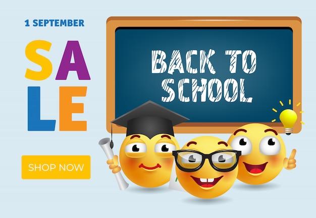 Back to school, shop now sale banner design Free Vector
