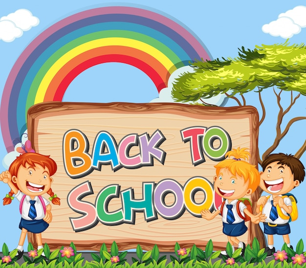 Back to school sign theme Free Vector