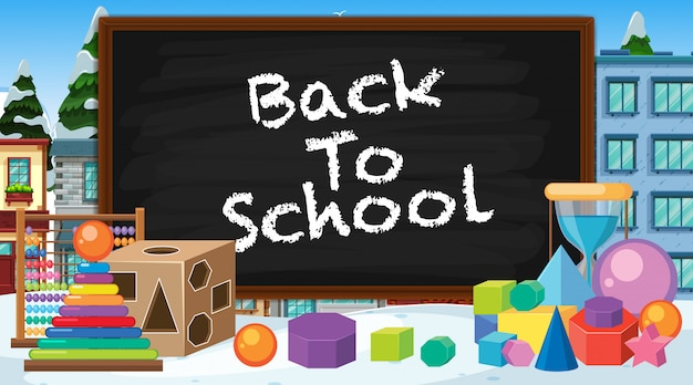 Back to school sign with many school items Premium Vector