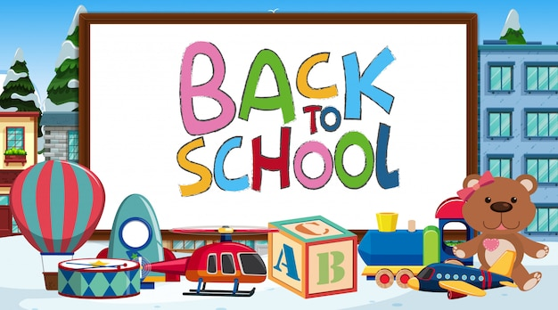 Back to school sign with many toys Premium Vector