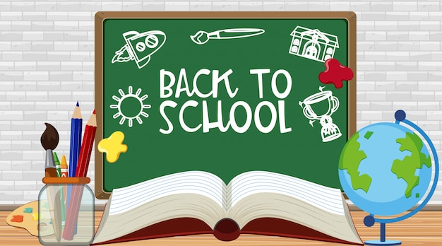Back to school sign with stationeries on the floor Premium Vector