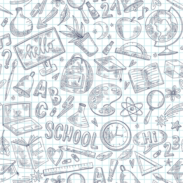Back to school sketch pattern Premium Vector