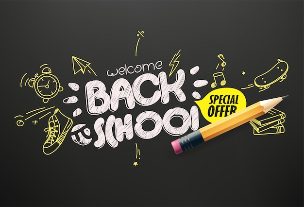 Back to school special offer  banner Premium Vector