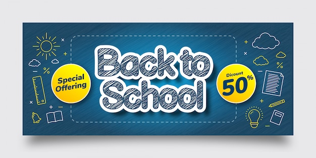 Back to school special offering discount banner template, blue, yellow, white, text effect, background Premium Vector