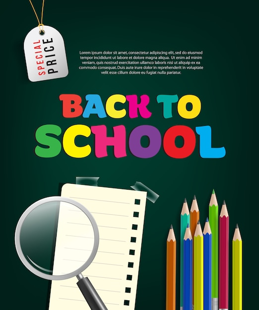 Back to school special price flyer with magnifier glass Free Vector