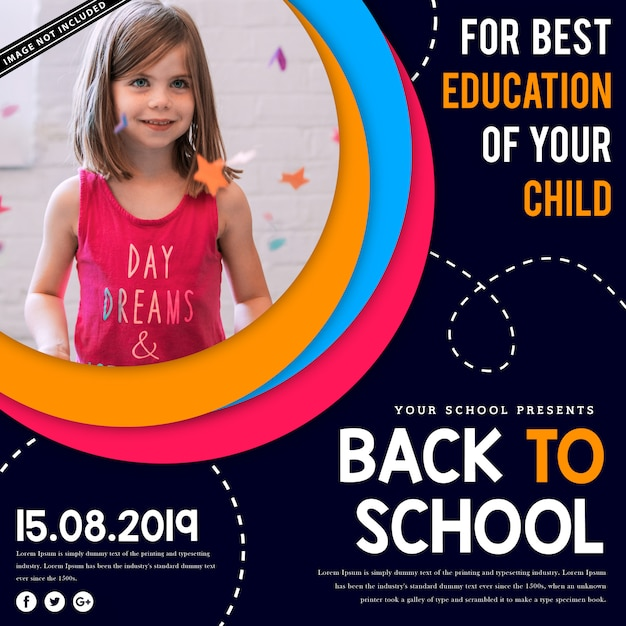 Back to school square advertising or poster template Premium Vector