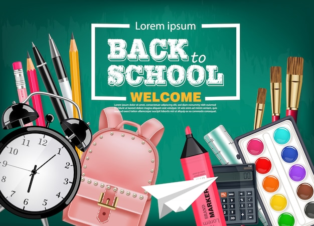 Back to school stationary collection Premium Vector