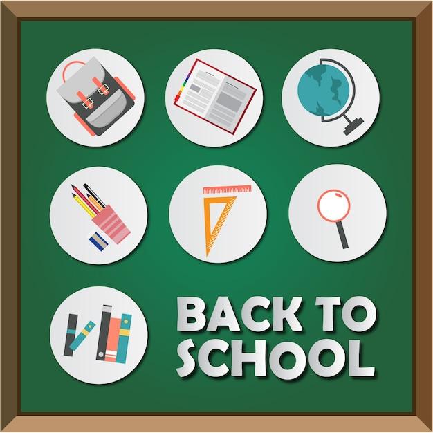 Back to school sticker and board Premium Vector