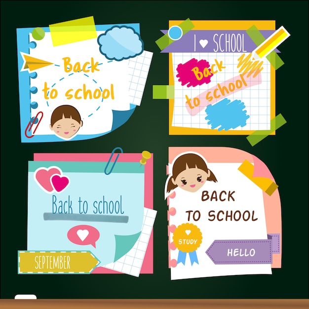 Back to school stickers. memory sticky notes, study symbols. Premium Vector