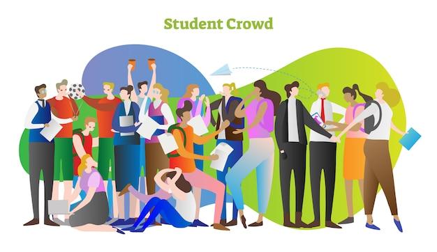 Back to school student crowd vector illustration scene Premium Vector