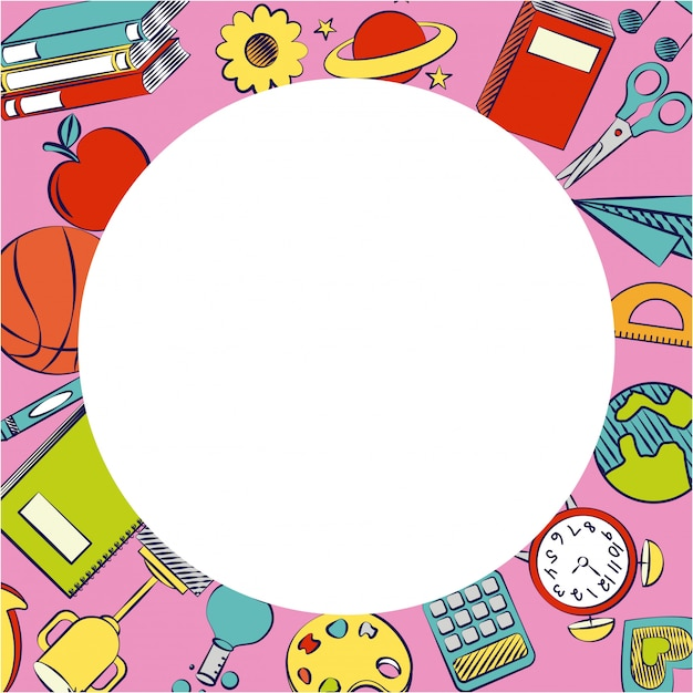 Back to school supplies and elements Free Vector