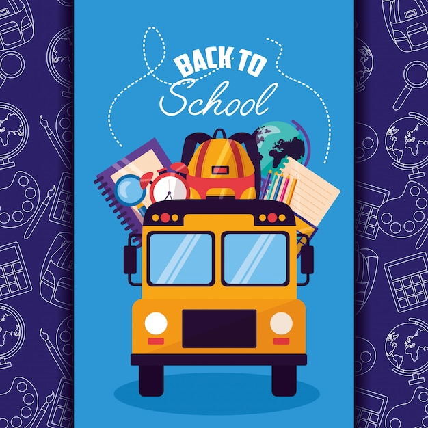Back to school supplies flat illustration Free Vector