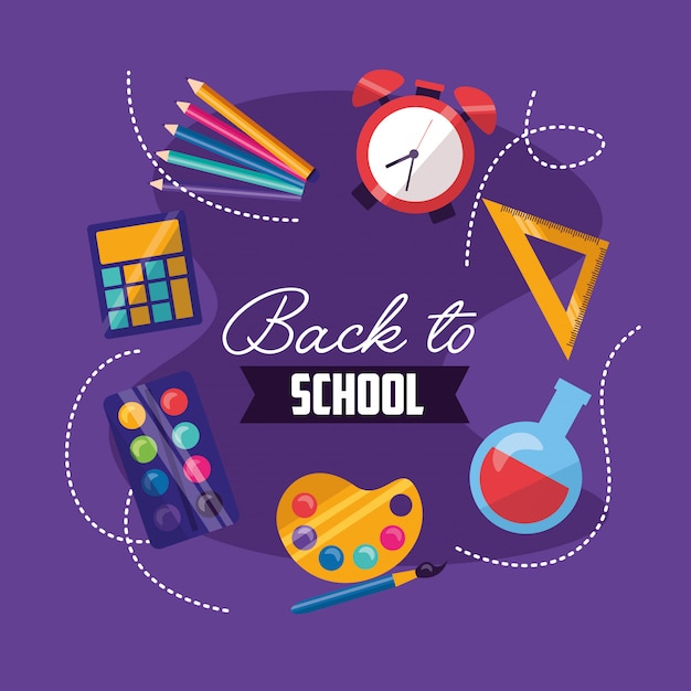 Back to school supplies in flat style Free Vector