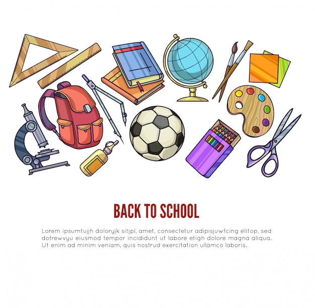 Back to school supplies and learning equipment or office accessories for poster design. Premium Vector