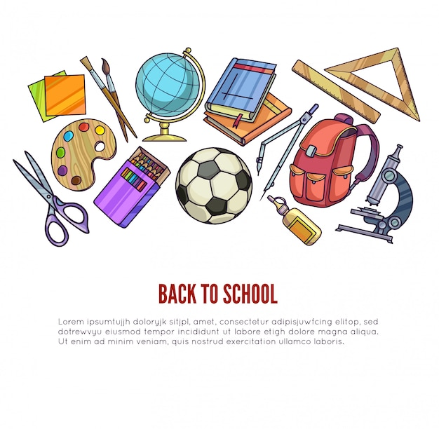 Back to school supplies and learning equipment Premium Vector