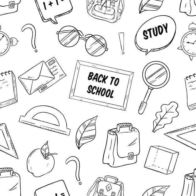 Back to school supplies in seamless pattern with sketch style Premium Vector